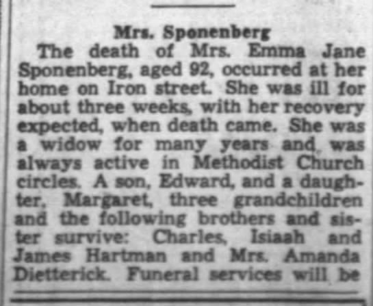 Sponenberg, Emma Jane - Mra. Speneaberg Tha death of Mrs. Emma Jane...