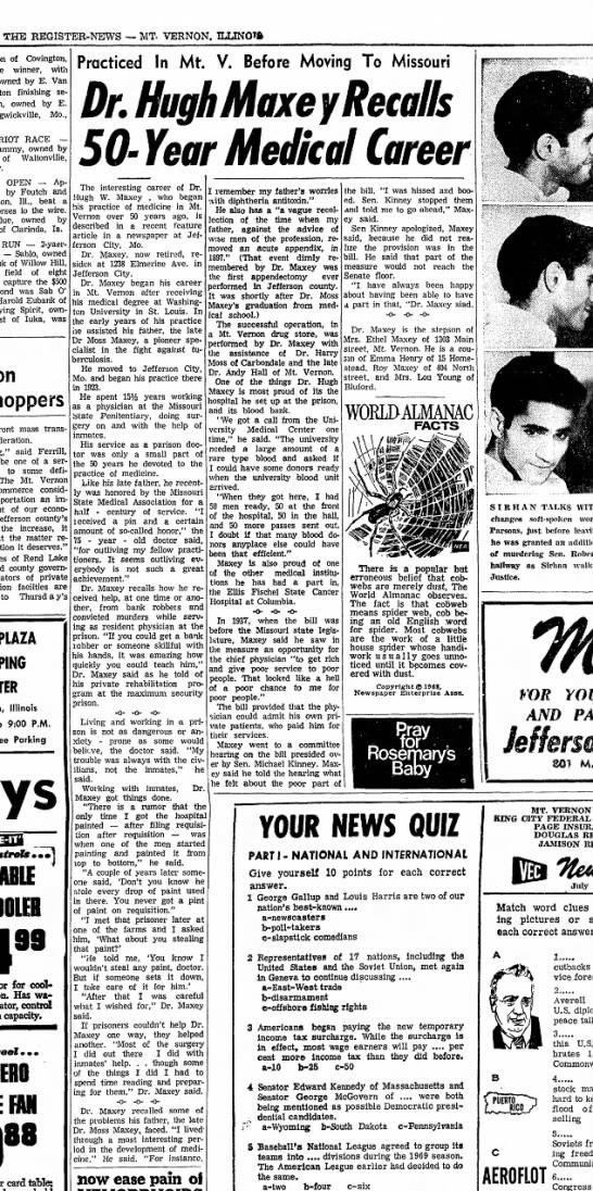 Hugh Maxey - THE REGISTER-NEWS — MT- VERNON. ILUNOTft of...