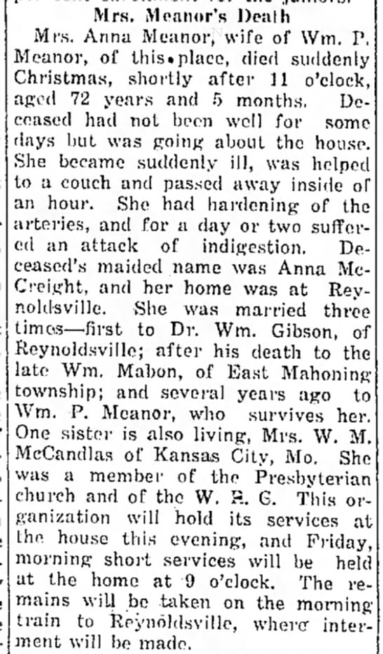 McCreight, Anna - The Indiana Gazette - 1918 12 27 - Mrs. Moanor's Death Mrs. Anna Meanor, wife of...
