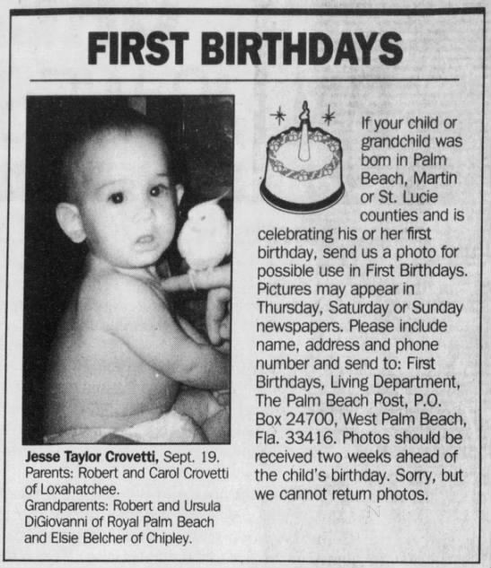 "Page 692, The Palm Beach Post; West Palm Beach, FL; 24 Sep 1995 - FIRST BIRTHDAYS X ""J ' i r - Jesse Taylor..."