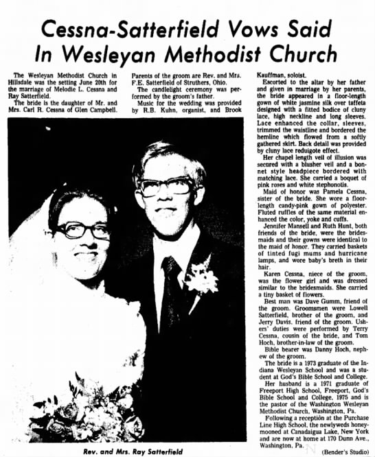 Melodie Cessna and Ray Satterfield Marriage - Cessna-Serfterf/e/d Vows Said In Wesleyan...