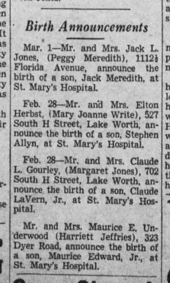 Birth announcements, 1942 - It Birth Announcements Mar, 1 Mr. and Mrs. Jack...