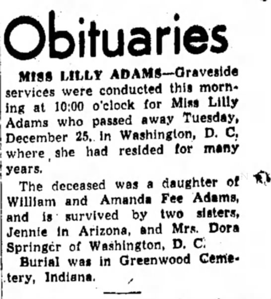 - j yearSi ' Obituaries MISS LILLY...