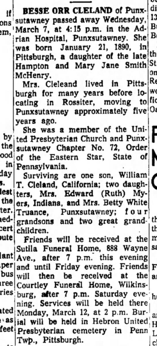 Bessie Orr McHenry Cleland - if BESSE ORR CLELAND of Punx u d Wednesday...