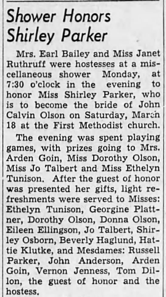 1950-3-18 Shower for Shirley - Shower Honors Shirley Parker Mrs. Earl Bailey...