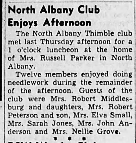 1952-1-31 NAThiC at Jessie's - North Albany Club Enjoys Afternoon The North...