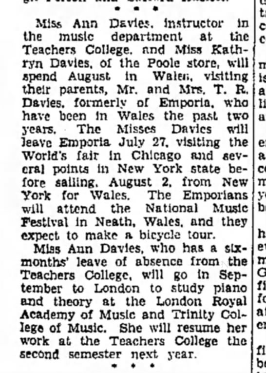Katherine and Anne to Wales 25 June 1934 - • • • Miss Ann Dsvics. instructor in the music...