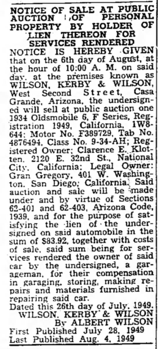 Clarence E Klotten's Car Auctioned - NOTICE OF SALE AT PUBLIC AUCTION ! .OF PERSONAL...