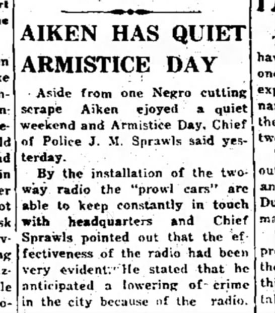 - AIKEN HAS QUIET ARMISTICE DAY • Aside from one...