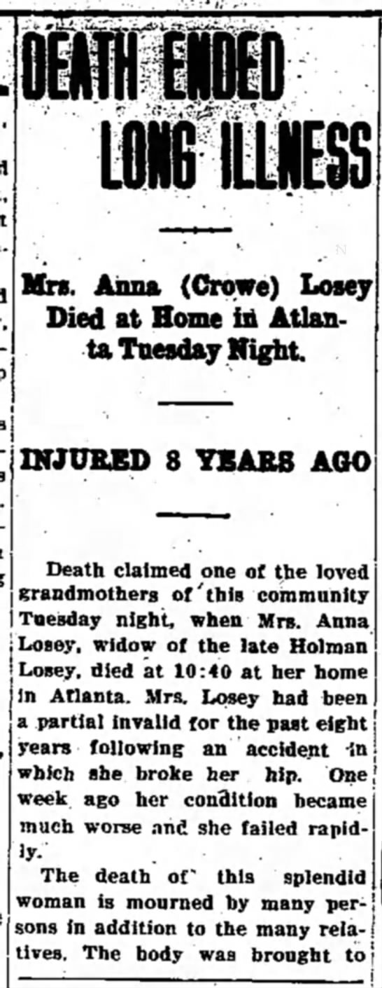 Tipton Tribune (Tipton, Indiana) July 13, 1938 pg 6 - Mrs. Aima (Crowe) Losey Died at Home in Atlanta...