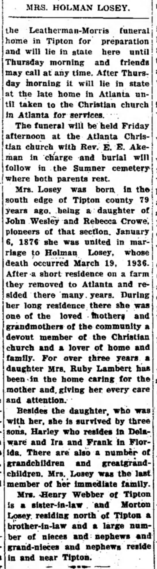 Tipton Tribune (Tipton, Indiana) July 13, 1938 pg 6 - MRS. HOLMAN LOSEY. : j the Leatherman-Morris...