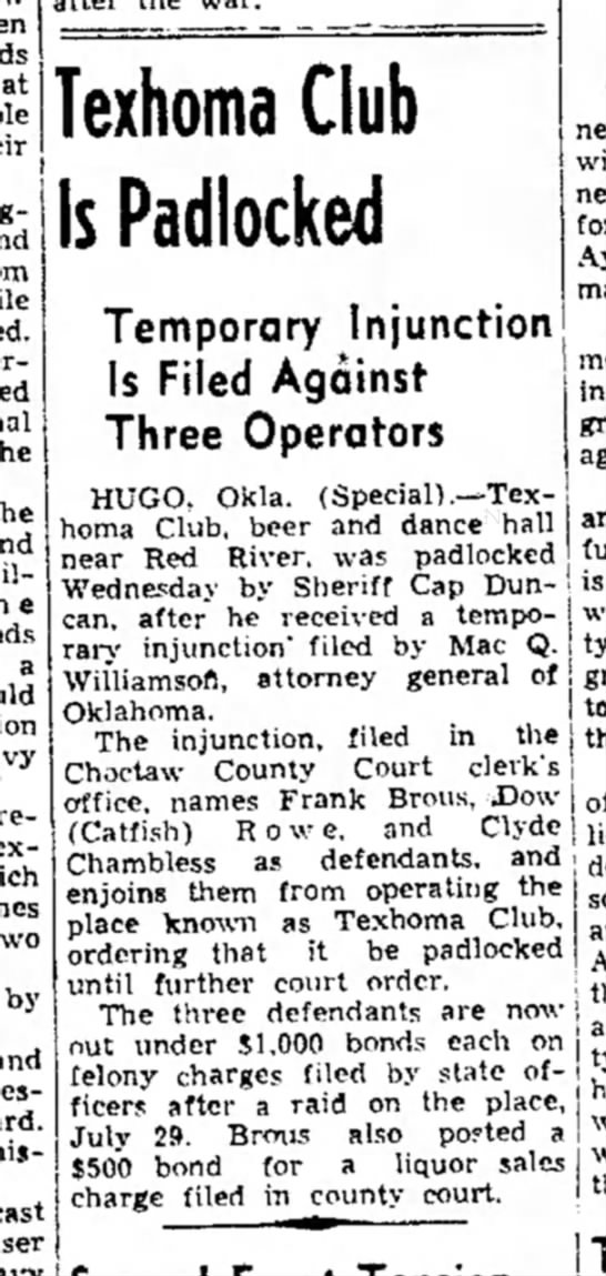 Frank Brous has more trouble - a by and Texhorna Club Is Padlocked Temporary...