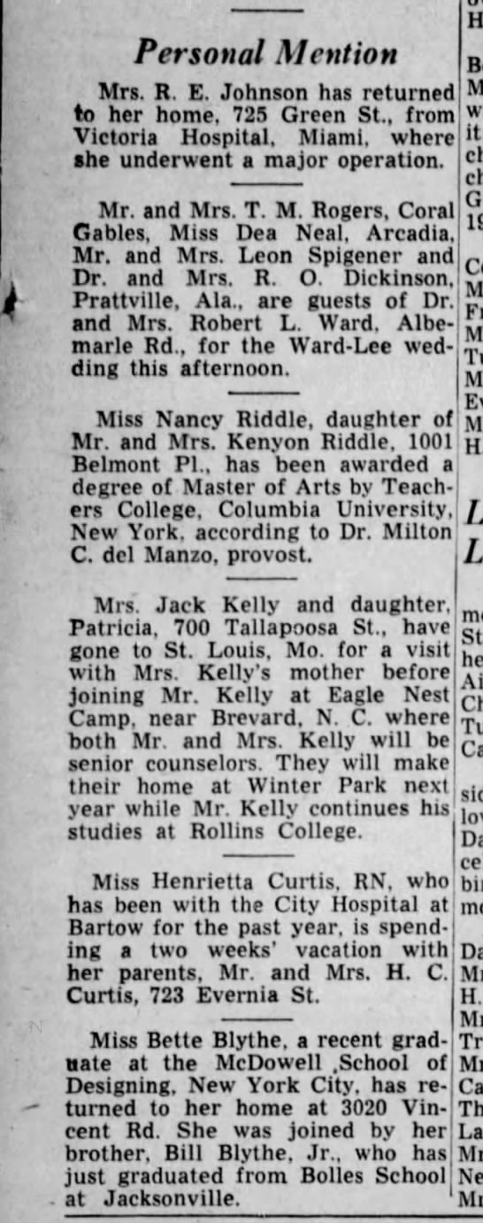 Personal Mention, 1946 - Personal Mention Mrs. R. E. Johnson has...