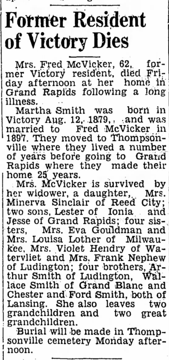 - Former Resident of Victory Dies Mrs. Fred...