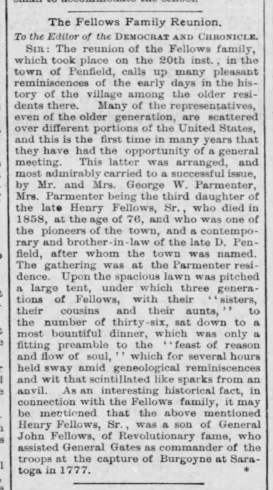 Fellows Family Reunion - 1889 - The Fellows Family Reunion. To the Editor of...