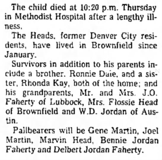 Ricky Head obit 1976 pt 2 - The child died at 10:20 p.m. Thursday in...