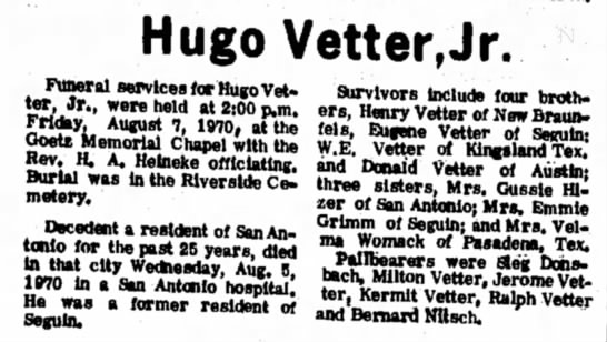 Obituary of Hugo Vetter, Jr. - Hugo Vetter,Jr. Funeral services for Hugo...