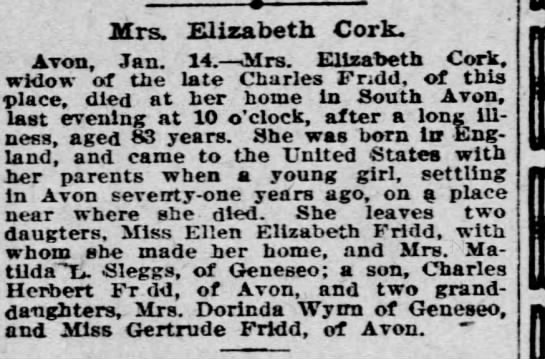 Elizabeth Fridd Cork obituary - Mrs. Elizabeth Cork. Avon. Jan. 14. Mrs....