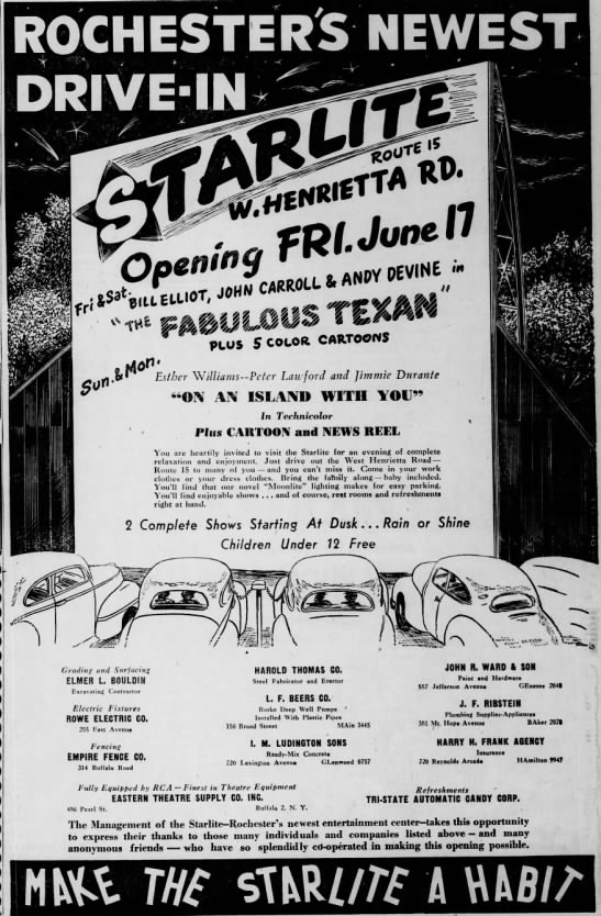 Starlite Drive-In opening - mm 3 O 15 t- s m Esther Williams Peter Lawford...