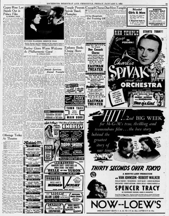 1945 movie listings - ROCHESTER DEMOCRAT AXD CHRONICLE. FRIDAY....