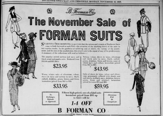 Formans sale - ROCHESTER DEMOCRAT AND CHRONICLE. MONDAY....