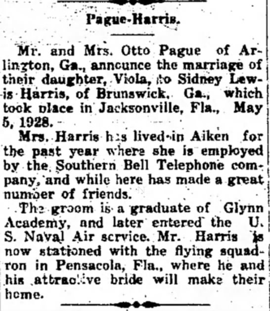 "Pague-Harris wedding - Pague-ifarrlB,. ""Mr.'""and Mrs. Otto Pague of..."