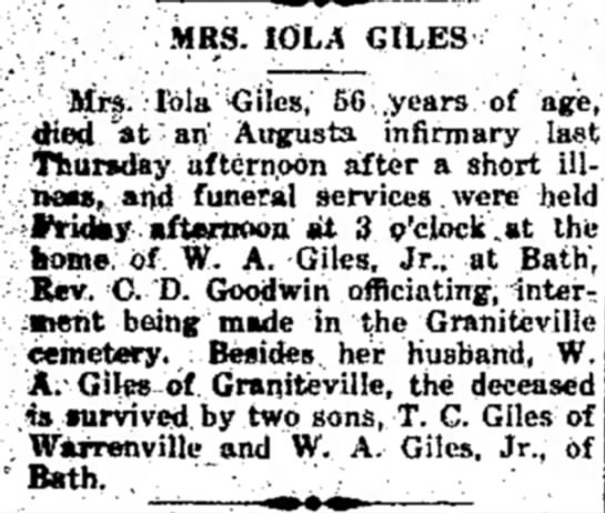 Death Notice for Mrs. Iola Giles.1929 - MRS. 10LA GItES Mrs lola -Giles, 56 .years of...