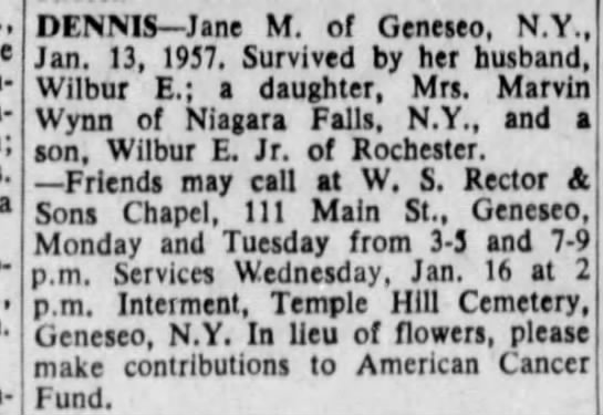Hannah Jane Moore obituary - Mum- DENNIS Jane M. of Geneseo, N.Y., Jan. 13,...