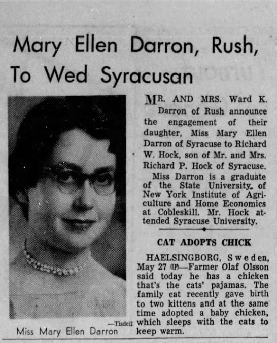 Wedding - Darron-Hock - Mary Ellen Darron, Rush, lo Wed Syracusan )...