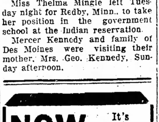 1 March 1933 Ames Daily Tribune (Ames, Iowa) - Miss Thelrna Mingle left Tuesday Tuesday night...