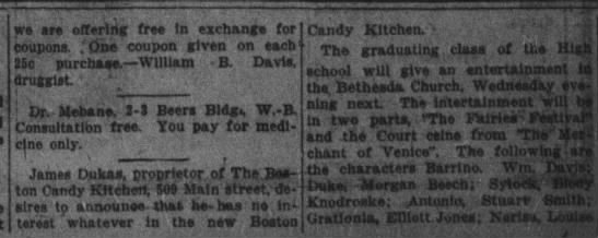 Boston Candy Kitchen 1915 - we are orTrl!)i; free in exchange for coupons....