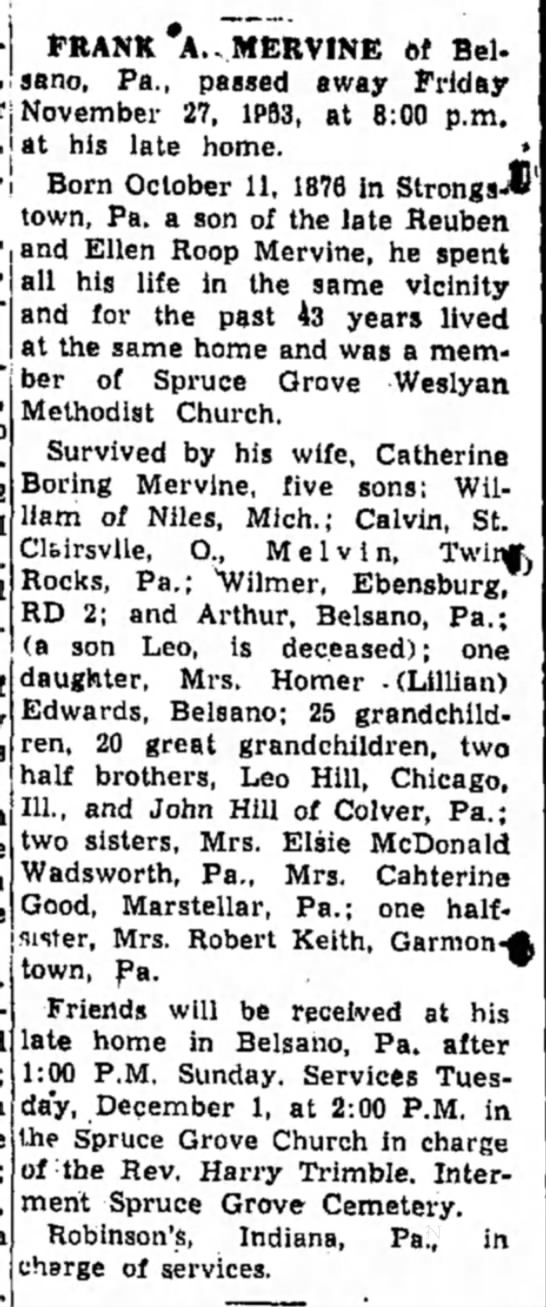 - FRANK A.. MERVINE of Belsano, Pa., passed away...