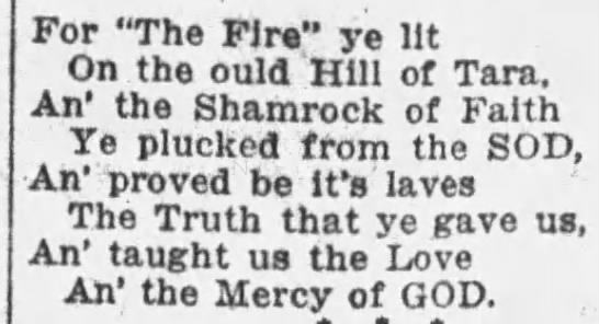 """Excerpt from a poem about St. Patrick's non-Irishness - For """"The Fire"""" ye lit un tne ould Hill of Tara...."""