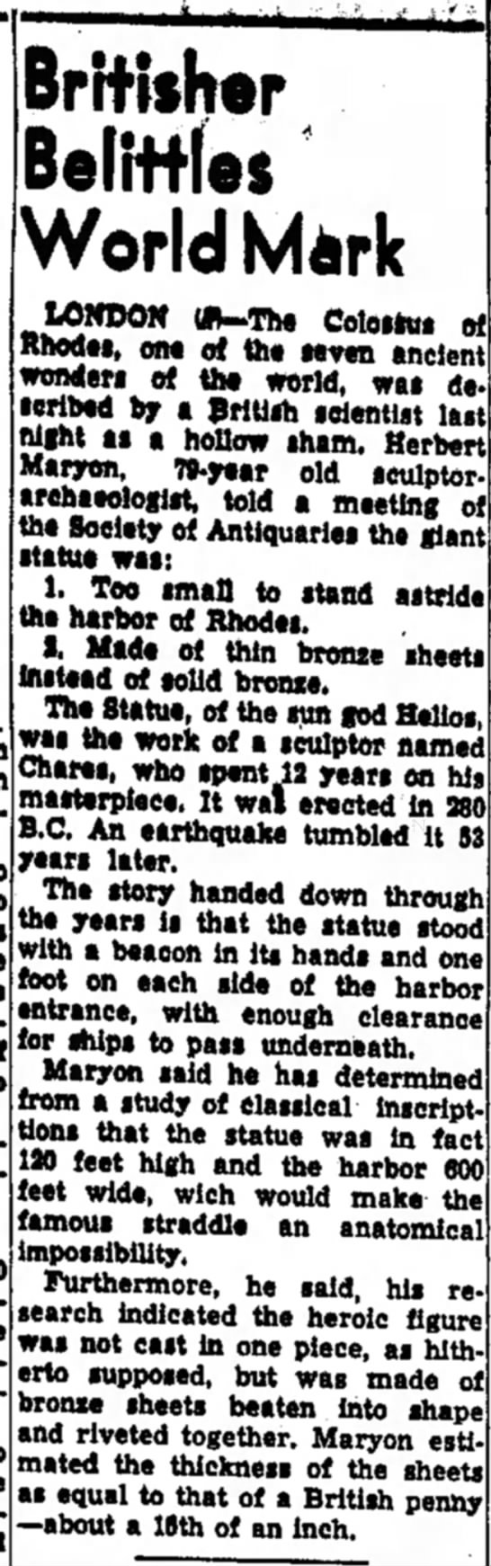 Herbert Maryon on the Colossus of Rhodes, The Indiana Gazette, 5 December 1953 - Britisher Belittles World Mark IOHDON tfWThe...