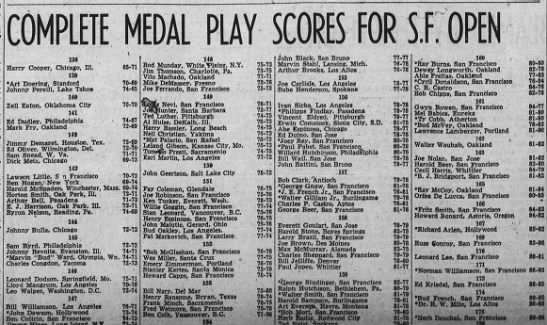 SF Open Joe Ferrando 1939 - COMPLETE MEDAL PLAY 136 Barry Cooper, Chicago,...