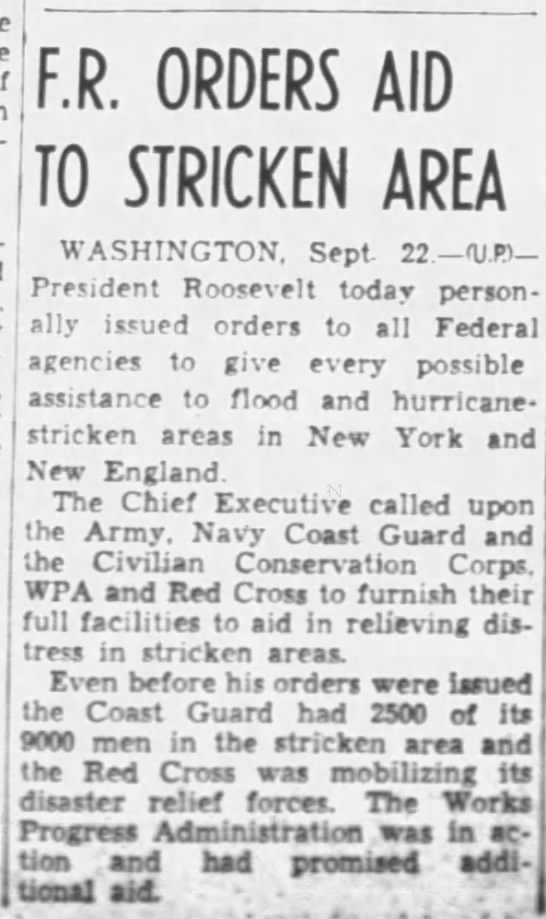 Federal aid sent to areas hit by 1938 hurricane