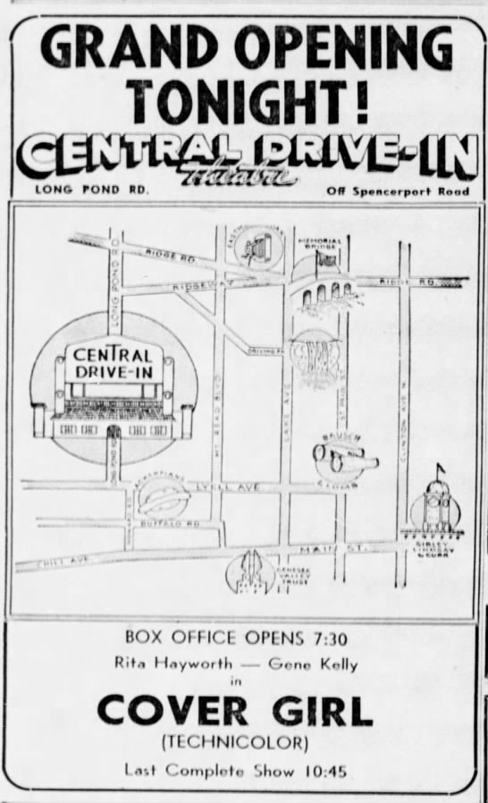 Central Drive-In opening - IONG rONO RD. Off Spencvrport' Read DRIVE-IN...