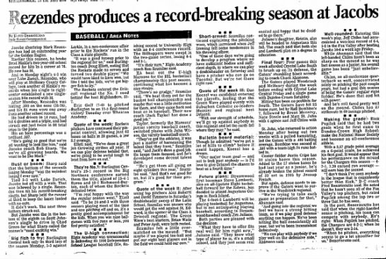 Jeff Chiles 23 May 1997 - produces a record-breaking season at Jacobs By...