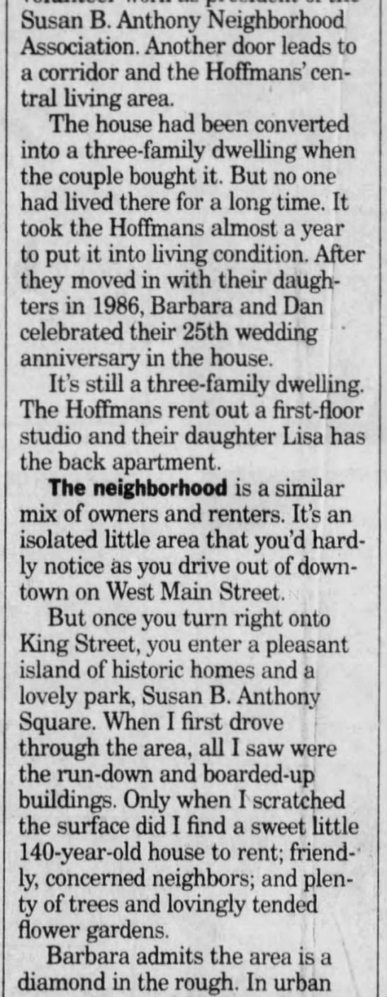 Fox Sisters Spirits, Democrat and Chronicle (Rochester, NY) 24 Aug 1995 Thu P27 - Susan B. Anthony Neighborhood Association....