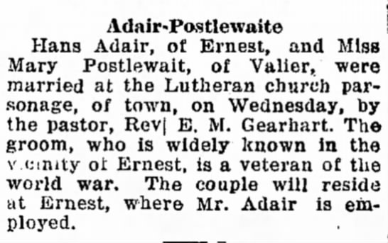 - Adair-Postlewaite Hans Adair, of Ernest, and...