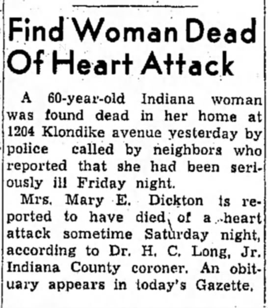Dickton Mary E. Death Sept 13, 1954 - Find Woman Dead Of Heart Attack A 60-year-old...