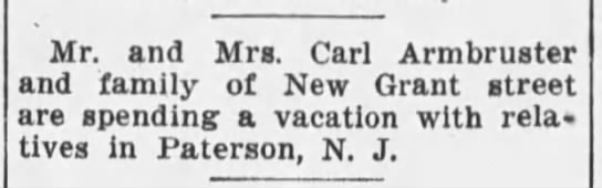 Armbruster family visit relatives in Paterson, NJ - Mr. and Mra. Carl Armbruster and family of New...