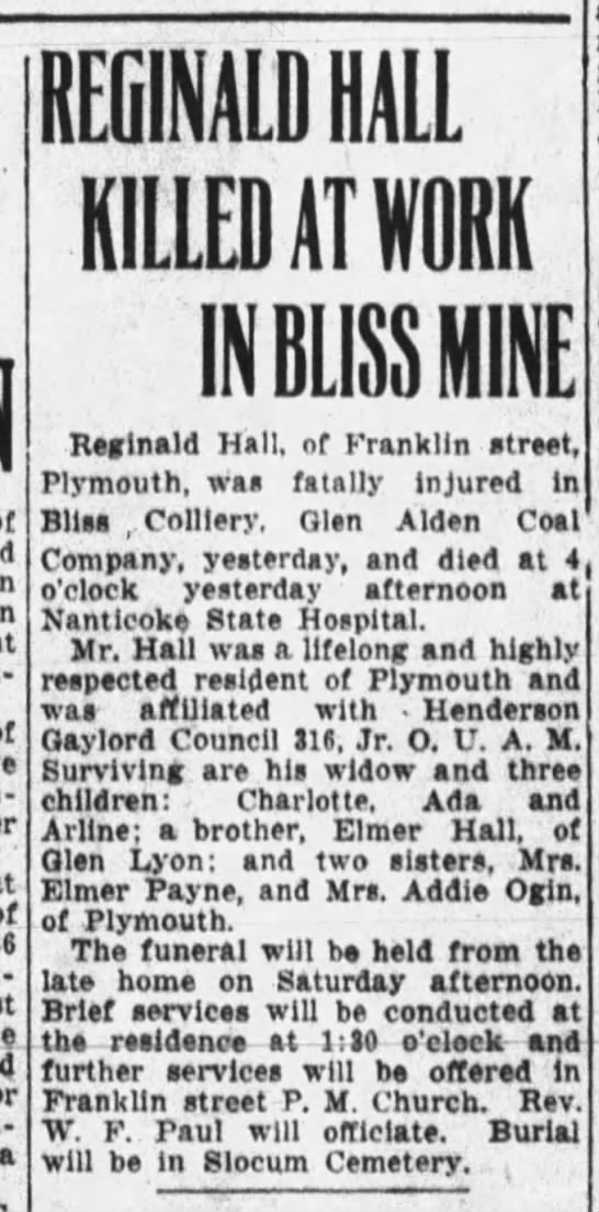 Hall, Reginald Sept 1931 2 OBit - Red-ington. a REGINALD HALL KILLED AT IRK IN...