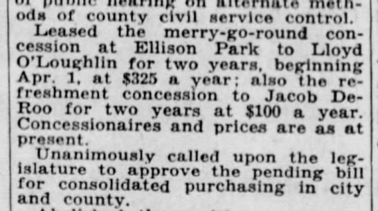 ellison park 1942 - on meth oas or county civil service control....