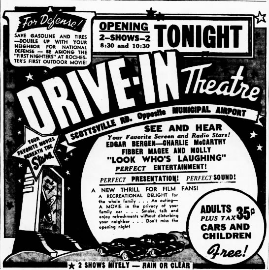 Rochester Drive-In opening - SAVE GASOLINE AND TIRES DOUBLE UP WITH YOUR...