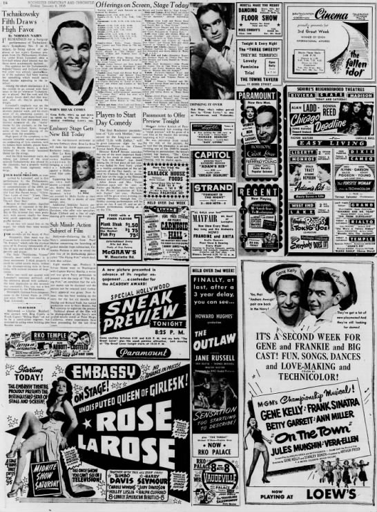 1950 movie listings - IS ROCHESTER DEMOCRAT AND CHRONICLE Friday,...