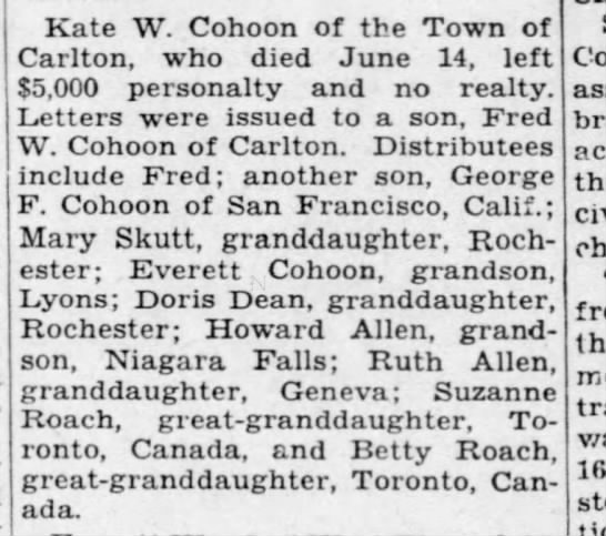 Kate Cohoon estate - Kate W. Cohoon of the Town of Carlton, who died...