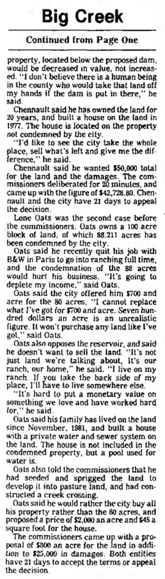Lone Oats pg 2 - Big Creek Continued from Page One property,...