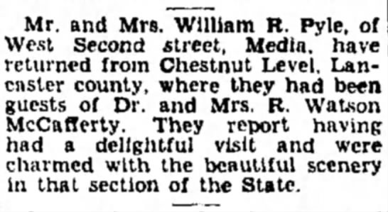 - Mr. and Mrs. William R. Pyle, of West Second...