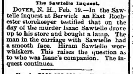 2/19/1890 - Tlie Sawtelle Inquest. DOVER, N. H., Feb....
